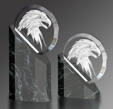 Black And White Eagle Head. crystal, glass, marble, bronze